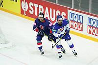23rd May 2021, Riga Olympic Sports Centre Latvia; 2021 IIHF Ice hockey, Eishockey World Championship, Great Britain versus Slovakia;  Brett Perlini Great Britain against the  Simon Nemec Slovakia