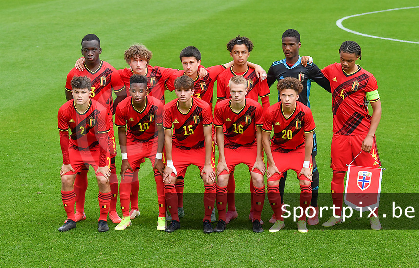 Belgian players with Ibrahim Digberekou (3) of Belgium , Mika Godts (19) of Belgium , Vincent Burlet (13) of Belgium , Noah Mawete Kinsiona (6) of Belgium , goalkeeper Matthieu Epolo (12) of Belgium , Lucas Noubi Ngnokam (4) of Belgium , Kyriani Sabbe (2) of Belgium , Stanis Idumbo Muzambo (10) of Belgium , Mathis Sturbaut (15) of Belgium , Arthur Vermeeren (16) of Belgium and Chemsdine Talbi (20) of Belgium pictured posing for the teampicture during a soccer game between the national teams Under17 Youth teams of  Norway and Belgium on day 3 in the Qualifying round in group 3 on Tuesday 12 th of October 2020  in Tubize , Belgium . PHOTO SPORTPIX   DAVID CATRY