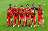Belgian players with Ibrahim Digberekou (3) of Belgium , Mika Godts (19) of Belgium , Vincent Burlet (13) of Belgium , Noah Mawete Kinsiona (6) of Belgium , goalkeeper Matthieu Epolo (12) of Belgium , Lucas Noubi Ngnokam (4) of Belgium , Kyriani Sabbe (2) of Belgium , Stanis Idumbo Muzambo (10) of Belgium , Mathis Sturbaut (15) of Belgium , Arthur Vermeeren (16) of Belgium and Chemsdine Talbi (20) of Belgium pictured posing for the teampicture during a soccer game between the national teams Under17 Youth teams of  Norway and Belgium on day 3 in the Qualifying round in group 3 on Tuesday 12 th of October 2020  in Tubize , Belgium . PHOTO SPORTPIX | DAVID CATRY