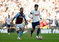 3rd October 2021; Tottenham Hotspur Stadium. Tottenham, London, England; Premier League football, Tottenham versus Aston Villa: Son Heung-Min of Tottenham Hotspur being chased by Douglas Luiz of Aston Villa