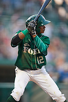 Fort Wayne TinCaps second baseman Esteury Ruiz (12) at bat during a game against the West Michigan Whitecaps on May 17, 2018 at Parkview Field in Fort Wayne, Indiana.  Fort Wayne defeated West Michigan 7-3.  (Mike Janes/Four Seam Images)