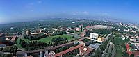 aerial photograph of the National Autonomous University of Mexico (Universidad Nacional Autónoma de México), UNAM, main campus, Coyacan, Mexico City