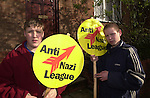 Anti Nazi supporters.<br /> 40 members of the National Front marched through Bromsgrove,  West Midlands.  <br /> in an effort to gain support.  <br /> The day also happened to be Hitler's birthday and around 50 Anti Nazi league members turned up to  protest against the march.  Police spent most of the  day keeping the two  groups apart and  one NF member was arrested for a public order offence.
