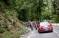 As a form of protest (after the ridiculously dangerous descent the day before) the riders refused to 'race' down the descent that was planned in the route straight after km0 > so the race organisers (and UCI) 'neutralised the whole descent <br /> <br /> Stage 5: Megève to Megève (154km)<br /> 72st Critérium du Dauphiné 2020 (2.UWT)<br /> <br /> ©kramon