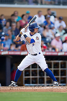 Joey Rickard (4) of the Durham Bulls at bat against the Louisville Bats at Durham Bulls Athletic Park on August 9, 2015 in Durham, North Carolina.  The Bulls defeated the Bats 9-0.  (Brian Westerholt/Four Seam Images)