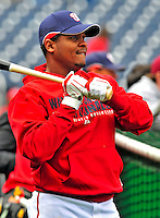 13 April 2009: Washington Nationals' infielder Anderson Hernandez awaits his turn in the batting cage prior to facing the Philadelphia Phillies at the Nats' Home Opener at Nationals Park in Washington, DC. The Nats fell short in their 9th inning rally, losing 9-8, and marking their 7th consecutive loss of the season. Mandatory Credit: Ed Wolfstein Photo