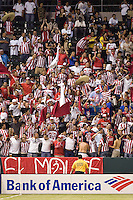 Chivas USA fans pack the Northwest corner of the HDC during a Galaxy home match. Chivas USA and the LA Galaxy played to a  1-1 draw at Home Depot Center stadium, in Carson, California on Thursday, July 10, 2008.