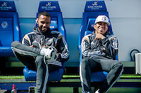LEICESTER, ENGLAND - APRIL 18: Kyle Bartley and Jefferson Montero of Swansea City relax in the dugout prior to the Premier League match between Leicester City and Swansea City at The King Power Stadium on April 18, 2015 in Leicester, England.  (Photo by Athena Pictures/Getty Images)