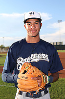 Jake Gatewood #18 of the AZL Brewers poses before a game against the AZL Reds at the Cincinnati Reds Baseball Complex on July 5, 2014 in Goodyear, Arizona. (Larry Goren/Four Seam Images)