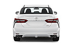Straight rear view of 2018 Toyota Camry XSE 4 Door Sedan Rear View  stock images