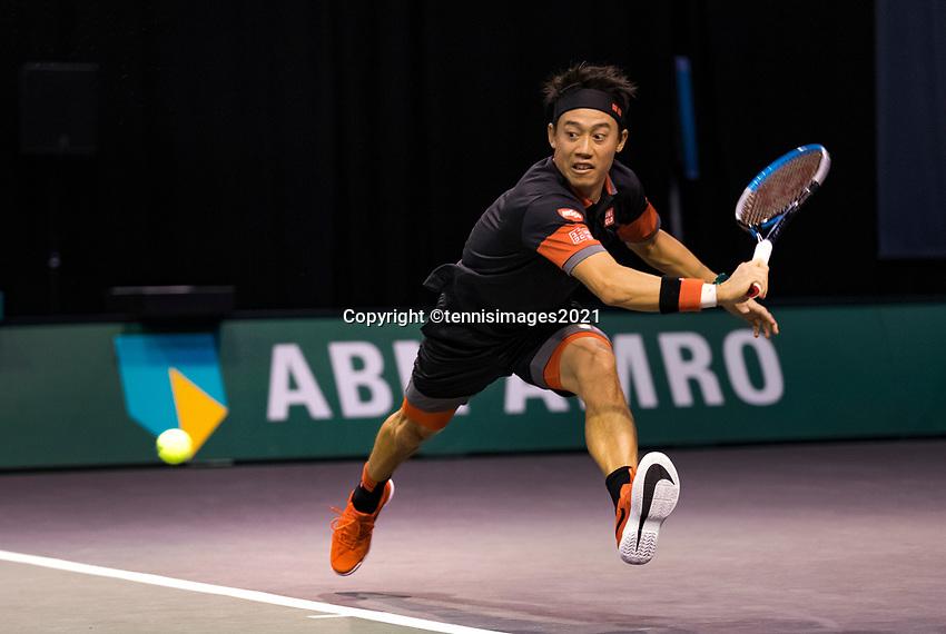 Rotterdam, The Netherlands, 2 march  2021, ABNAMRO World Tennis Tournament, Ahoy, First round doubles: Kei Nishikori (JPN).<br /> Photo: www.tennisimages.com/henkkoster