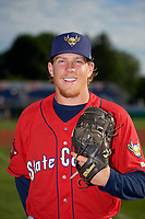 State College Spikes pitcher Eric Lex (39) poses for photo before a NY-Penn League game against the Batavia Muckdogs on July 2, 2019 at Dwyer Stadium in Batavia, New York.  Batavia defeated State College 1-0.  (Mike Janes/Four Seam Images)