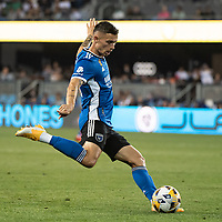SAN JOSE, CA - SEPTEMBER 4: Paul Marie #3 of the San Jose Earthquakes passes the ball during a game between Colorado Rapids and San Jose Earthquakes at PayPal Park on September 4, 2021 in San Jose, California.