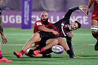16th October 2020, Stade Maurice David, Aix-en-Provence, France;  Challenge Cup Rugby Final Bristol Bears versus RC Toulon;  Callum Sheedy tackled by Bastien Soury