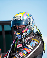 Aug 17, 2019; Brainerd, MN, USA; NHRA top fuel driver Austin Prock during qualifying for the Lucas Oil Nationals at Brainerd International Raceway. Mandatory Credit: Mark J. Rebilas-USA TODAY Sports
