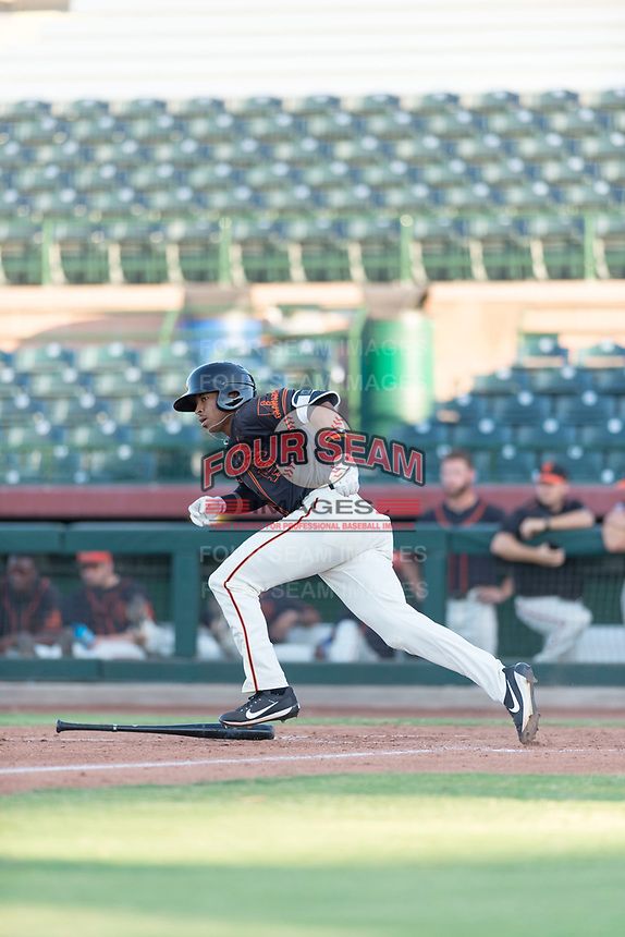 AZL Giants Orange center fielder Randy Norris (1) starts down the first base line during an Arizona League game against the AZL Rangers at Scottsdale Stadium on August 4, 2018 in Scottsdale, Arizona. The AZL Giants Black defeated the AZL Rangers by a score of 3-2 in the first game of a doubleheader. (Zachary Lucy/Four Seam Images)