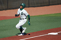 Gino Groover (23) of the Charlotte 49ers rounds third base during the game against the Florida Atlantic Owls at Hayes Stadium on April 2, 2021 in Charlotte, North Carolina. The 49ers defeated the Owls 9-5. (Brian Westerholt/Four Seam Images)