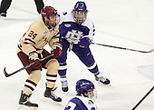 Bill Arnold (BC - 24), Nathaniel Domagala (HC - 7) - The visiting College of the Holy Cross Crusaders defeated the Boston College Eagles 5-4 on Friday, November 29, 2013, at Kelley Rink in Conte Forum in Chestnut Hill, Massachusetts.