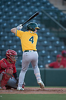 AZL Athletics second baseman Nick Ward (4) at bat during an Arizona League game against the AZL Angels at Tempe Diablo Stadium on June 26, 2018 in Tempe, Arizona. The AZL Athletics defeated the AZL Angels 7-1. (Zachary Lucy/Four Seam Images)