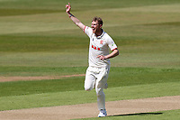 Jamie Porter of Essex celebrates taking a wicket (not given) during Warwickshire CCC vs Essex CCC, LV Insurance County Championship Group 1 Cricket at Edgbaston Stadium on 23rd April 2021