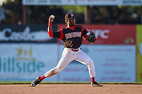 Batavia Muckdogs shortstop Anfernee Seymour (3) throws to first during the second game of a doubleheader against the Mahoning Valley Scrappers on July 2, 2015 at Dwyer Stadium in Batavia, New York.  Mahoning Valley defeated Batavia 3-0.  (Mike Janes/Four Seam Images)