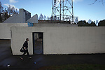 Edinburgh City v Spartans, 11/04/2015. Commonwealth Stadium, Scottish Lowland League. A member of the home team arriving at the Commonwealth Stadium, Meadowbank before the Scottish Lowland League match between Edinburgh City and city rivals Spartans, which was won by the hosts by 2-0. Edinburgh City were the 2014-15 league champions and progressed to a play-off to decide whether there would be a club promoted to the Scottish League for the first time in its history. The Commonwealth Stadium hosted Scottish League matches between 1974-95 when Meadowbank Thistle played there. Photo by Colin McPherson.