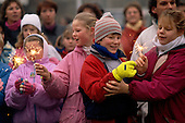 Ostpreu Bendamm, West Germany<br /> November 14, 1989 <br /> <br /> West German children celebrate the opening of the Berlin Wall with sparklers. Germans gathered as the wall is dismantled and the East German government lifts travel and emigration restrictions to the West on November 9, 1989.