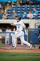 West Michigan Whitecaps second baseman Anthony Pereira (9) follows through on a swing during a game against the Clinton LumberKings on May 3, 2017 at Fifth Third Ballpark in Comstock Park, Michigan.  West Michigan defeated Clinton 3-2.  (Mike Janes/Four Seam Images)
