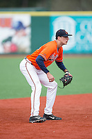Virginia Cavaliers shortstop Daniel Pinero (22) on defense against the Seton Hall Pirates at The Ripken Experience on February 28, 2015 in Myrtle Beach, South Carolina.  The Cavaliers defeated the Pirates 4-1.  (Brian Westerholt/Four Seam Images)