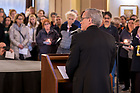 March 21, 2019; Notre Dame President Rev. John I. Jenkins, C.S.C. speaks at a prayer service in memory of the victims of the Mar. 15 New Zealand mosque attacks. (Photo by Matt Cashore/University of Notre Dame)