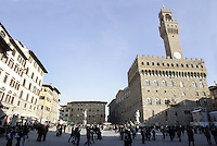 Veduta di Piazza Signoria, con Palazzo Vecchio sulla destra, a Firenze.<br /> View of Piazza della Signoria, with Palazzo Vecchio at right, in Florence.<br /> UPDATE IMAGES PRESS/Riccardo De Luca