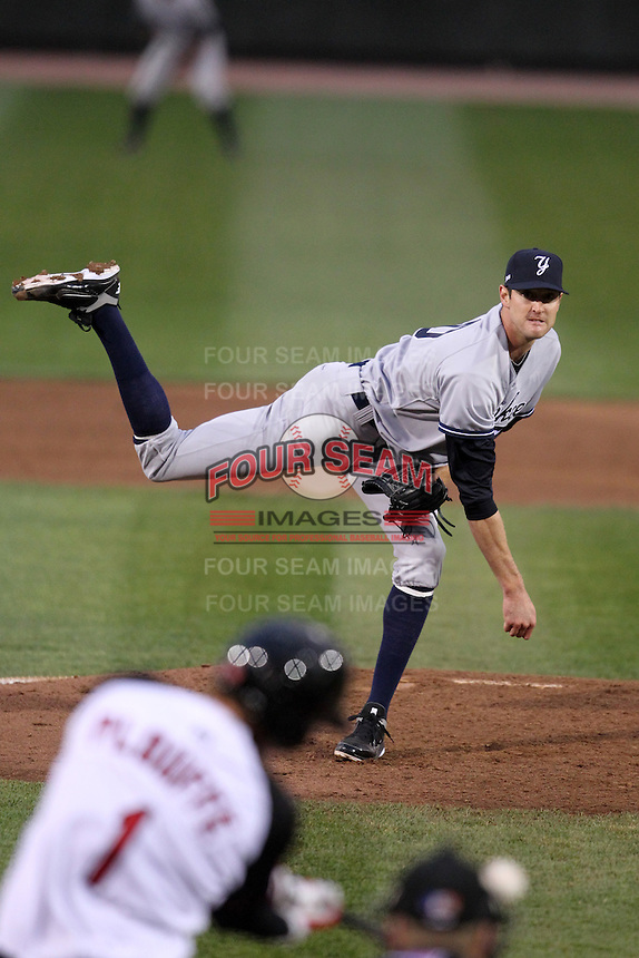 Scranton Wilkes-Barre Yankees starting pitcher Andrew Brackman #40 makes his AAA debut delivering a pitch to Trevor Plouffe #1 during a game against the Rochester Red Wings at Frontier Field on April 12, 2011 in Rochester, New York.  Scranton defeated Rochester 5-3.  Photo By Mike Janes/Four Seam Images