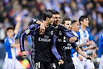 Alvaro Morata of Real Madrid celebrates with teammate Carlos Henrique Casemiro during their La Liga match between Deportivo Leganes and Real Madrid at the Estadio Municipal Butarque on 05 April 2017 in Madrid, Spain. Photo by Diego Gonzalez Souto / Power Sport Images