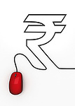 Conceptual image of mouse connecting to Indian Rupee symbol over white background
