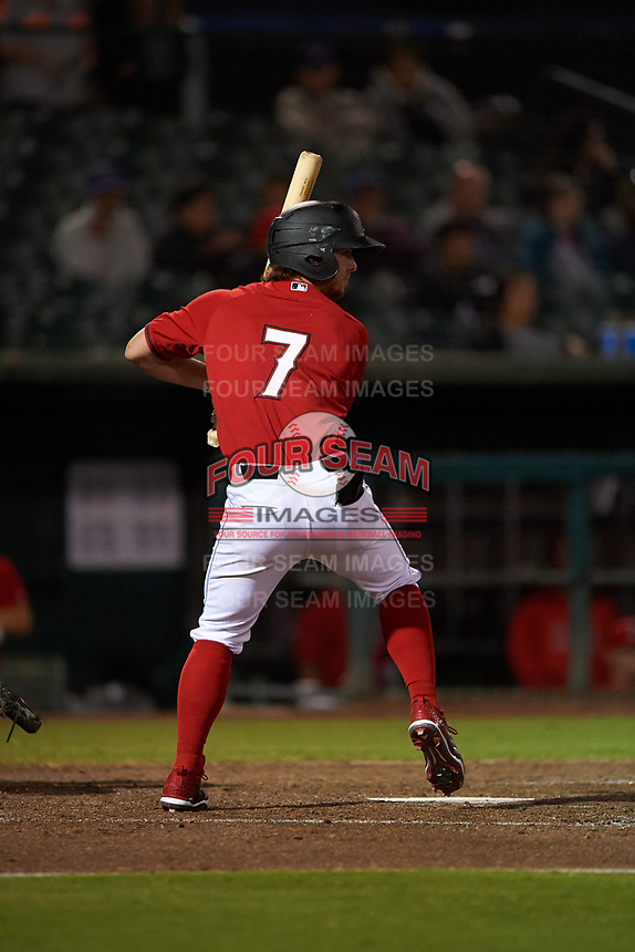 Inland Empire 66ers center fielder Jonah Todd (7) at bat during a California League game against the Lancaster JetHawks at San Manuel Stadium on May 18, 2018 in San Bernardino, California. Lancaster defeated Inland Empire 5-3. (Zachary Lucy/Four Seam Images)