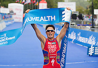 15 SEP 2013 - LONDON, GBR - Javier Gomez (ESP) (right) of Spain celebrates winning the elite men's ITU 2013 World Triathlon Series Grand Final and the series in Hyde Park in London, Great Britain (PHOTO COPYRIGHT © 2013 NIGEL FARROW, ALL RIGHTS RESERVED)