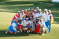 6th September 2021: Toledo, Ohio, USA;  Team Europe poses for a team photo after winning the Solheim Cup on September 6, 2021 at Inverness Club in Toledo, Ohio.   Europe retained the Solheim Cup with a hard-fought 15-13 victory over the United States