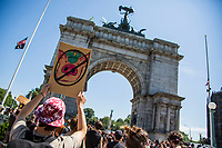 NEW YORK, NEW YORK - June 19: Group of protesters hold an act in front of the Grand Army Plaza June 19, 2020. People gathered in New York in different places to celebrate June 15, which remembers the day in 1865. When Union soldiers freed slaves, all movements are celebrated in the context of protests against the murder of George Floyd and other African Americans by the police in the USA. (Photo by Pablo Monsalve / VIEWpress via Getty Images)