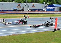 May 15, 2011; Commerce, GA, USA: NHRA top fuel dragster driver Shawn Langdon (left) takes the win over Del Worsham during the Southern Nationals at Atlanta Dragway. Mandatory Credit: Mark J. Rebilas-