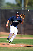 Seattle Mariners minor league infielder Taylor Ard #6 during an instructional league game against the Kansas City Royals at the Peoria Sports Complex on October 2, 2012 in Peoria, Arizona.  (Mike Janes/Four Seam Images)