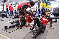 (L-R) Leroy Fer, Tammy Abraham and Luciano Narsingh exercise in the gym during the Swansea City Training and Press Conference at The Fairwood Training Ground, Swansea, Wales, UK. Thursday 01 February 2018