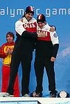 Mac Marcoux and Robin Femy, Sochi 2014 - Para Alpine Skiing // Para-ski alpin.<br /> Mac Marcoux and guide Robin Femy celebrate their Bronze medal win // Mac Marcoux et la guide Robin Femy célèbrent leur médaille de bronze. 08/03/2014.