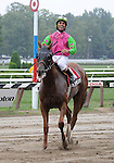 Trix in the City (no. 1), ridden by Shaun Bridgmohan and trained by Rick Violette, wins the 8th running of the De La Rose Stakes for fillies and mares three years old and upward on August 6, 2011 at Saratoga Race Track in Saratoga Springs, New York.  (Bob Mayberger/Eclipse Sportswire)