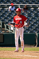 Jordan Lawlar (11) bats during the Baseball Factory All-Star Classic at Dr. Pepper Ballpark on October 4, 2020 in Frisco, Texas.  Jordan Lawlar (11), a resident of Irving, Texas, attends Jesuit College Preparatory School of Dallas.  (Ken Murphy/Four Seam Images)
