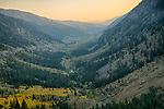 Idaho, South Central, SunValley. The view from Trail Creek Pass west towards Sun Valley at sunset in autumn.