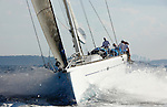 Singularity a Lutra 80 Canting keel racer cruiser built in Sydney by McConaghy Boats. during her first test sail in Sydney Harbour, Australia.
