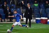 Roberto Mancini coach of Italy reacts during the Uefa Nation A League Group 1 football match between Italy and Netherlands at Atleti azzurri d Italia Stadium in Bergamo (Italy), October, 14, 2020. Photo Andrea Staccioli / Insidefoto