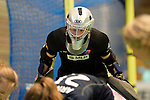 GER - Luebeck, Germany, February 06: During the 1. Bundesliga Damen indoor hockey semi final match at the Final 4 between Berliner HC (blue) and Duesseldorfer HC (red) on February 6, 2016 at Hansehalle Luebeck in Luebeck, Germany. Final score 1-3 (HT 0-1). (Photo by Dirk Markgraf / www.265-images.com) *** Local caption *** Amelie Klaumuenzer (TW) #13 of Berliner HC