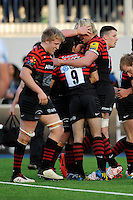 20130216 Copyright onEdition 2013©.Free for editorial use image, please credit: onEdition..Matt Stevens of Saracens (centre) is congratulated by team mates after scoring a try during the Premiership Rugby match between Saracens and Exeter Chiefs at Allianz Park on Saturday 16th February 2013 (Photo by Rob Munro)..For press contacts contact: Sam Feasey at brandRapport on M: +44 (0)7717 757114 E: SFeasey@brand-rapport.com..If you require a higher resolution image or you have any other onEdition photographic enquiries, please contact onEdition on 0845 900 2 900 or email info@onEdition.com.This image is copyright onEdition 2013©..This image has been supplied by onEdition and must be credited onEdition. The author is asserting his full Moral rights in relation to the publication of this image. Rights for onward transmission of any image or file is not granted or implied. Changing or deleting Copyright information is illegal as specified in the Copyright, Design and Patents Act 1988. If you are in any way unsure of your right to publish this image please contact onEdition on 0845 900 2 900 or email info@onEdition.com