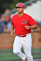 Johnson City Cardinals manager Roberto Espinoza (41) during game one of the Appalachian League Championship Series against the Burlington Royals at TVA Credit Union Ballpark on September 2, 2019 in Johnson City, Tennessee. The Royals defeated the Cardinals 9-2 to take the series lead 1-0. (Tony Farlow/Four Seam Images)